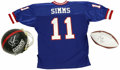 Football Collectibles:Others, Phil Simms Signed Helmet, Football, Jersey, and Oversized Photograph with Super Bowl XXI Program. Phil Simms, the MVP of the...