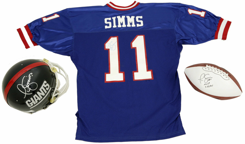 purchase cheap 46683 5b0a6 Phil Simms Signed Helmet, Football, Jersey, and Oversized ...