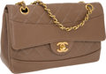 Luxury Accessories:Bags, Chanel Taupe Lambskin Leather Quilted Double Flap Bag with GoldHardware . ...