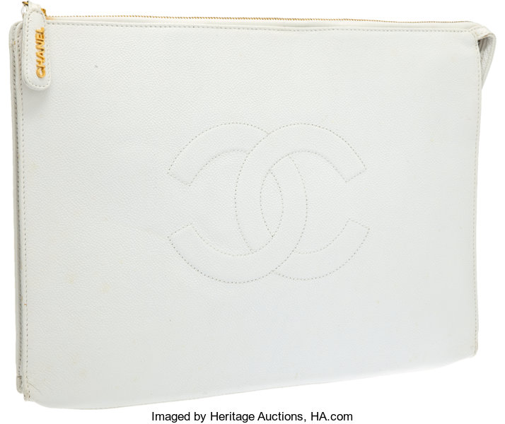 bf532bcdbc95 Luxury Accessories:Bags, Chanel White Caviar Leather CC Oversized Envelope  Clutch.