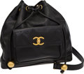 Luxury Accessories:Bags, Chanel Black Caviar Leather Drawstring Backpack with Gold Hardware....
