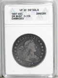 Early Half Dollars: , 1807 50C Draped Bust--Damaged--ANACS. VF 20 Details. O-110. NGCCensus: (150/704). PCGS Population (64/544). Mintage: 301,0...