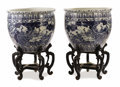 Asian:Chinese, Pair of Blue and White Jardinieres. Unknown maker, Chinese . 19thcentury. Porcelain. Unmarked. 25.37 inches high x 29.5 i... (Total:2 Items)