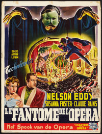 "Phantom of the Opera (Universal, late 1940s). First Belgian Post-War release. (13.75"" X 18.25""). Horror"
