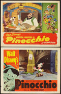 "Movie Posters:Animation, Pinocchio (RKO, R-1945 and R-1954). Lobby Cards (2) (11"" X 14"").Animation.. ... (Total: 2 Items)"