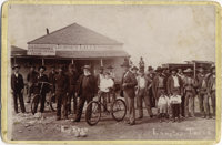 """TERRIFIC CABINET CARD OF JUDGE ROY BEAN IN FRONT OF THE JERSEY LILLY - """"THE LAW WEST OF THE PECOS."""" Wonderful..."""