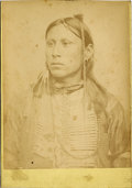 Photography:Cabinet Photos, KIOWA INDIAN BRAVE SALOSO W. S. SOULE PHOTOGRAPH ca 1880s Great studio photograph of Kiowa Indian Brave Saloso. He has a gre... (Total: 1 Item)