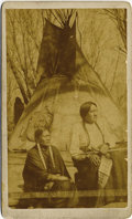 Photography:CDVs, SITTING BULL AND HIS FAVORITE WOMAN ca. 1870s. Very early outdoor Carte de VisIte Image of the famous Lakota Chief Sitti... (Total: 1 Item)