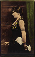 Photography:Cabinet Photos, EXTREMELY RARE COLOR BONNAUDTYPE IMAGE OF LILLIE LANGTRY. In 1879,J. B. Germeuil-Bonnaud developed an incredibly complicate...(Total: 1 Item)