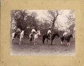 Photography:Cabinet Photos, TERRIFIC IMPERIAL CABINET OF ARMED AND DUDED-UP COWBOYS, ca. 1890.This interesting photograph features four mounted cowboys...