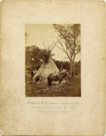 Photography:Cabinet Photos, EXCEPTIONAL COMANCHE INDIAN CAMP - INDIAN TERRITORY - SET OF TWOLARGE FORMAT IMPERIAL CARDS - ca.1872. This historic, stunn...(Total: 2 Item)