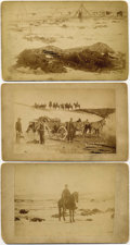 "Photography:Cabinet Photos, SET OF FIVE ""BATTLE OF WOUNDED KNEE"" - BOUDOIR CARDS - ca. 1891.This set of five cards relating to the massacre is highligh...(Total: 5 Item)"