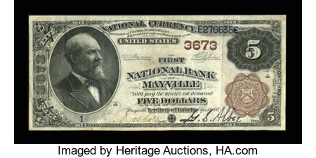 Mayville, ND - $5 1882 Brown Back Fr. 469 The First NB Ch. # 3673 ...