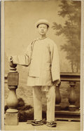 Photography:CDVs, WORKING ASIAN MAN - UTAH CARTE DE VISITE - circa 1885. A great Salt Lake City, Utah Carte de Visite of an Asian man wear... (Total: 1 Item)
