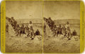 Photography:Stereo Cards, OVERSIZED HAWORTH & MCCOLLIN STEREOCARD OF APACHE INDIANS. Family of eight Apache Indians seated outside their adobe home, p... (Total: 1 Item)