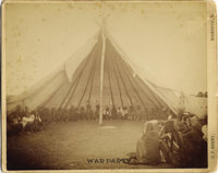 "AMAZING BARRY PHOTOGRAPH OF INDIAN ""WAR PARTY"" COUNCIL WITH SITTING BULL'S TRIBE. Large (9.25"" x 7.5""..."