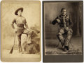 Photography:Cabinet Photos, DUDED-UP COWBOYS. Two terrific cabinet cards of duded-up cowboys.The first features a young man identified on verso as Elme...(Total: 1 Item)
