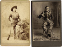 DUDED-UP COWBOYS. Two terrific cabinet cards of duded-up cowboys. The first features a young man identified on verso as...