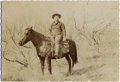 """Photography:Official Photos, UNNAMED COWPOKE ON HORSE. Pudgy cowboy sits atop his shaggy horsein this 7"""" x 4.75"""" image by an unknown photographer; barre...(Total: 1 Item)"""