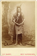 Photography:Cabinet Photos, PRISTINE BARRY CABINET CARD OF UNIDENTIFIED INDIAN. D.F. Barryproduced thousands of images of Native Americans and usually ...(Total: 1 Item)