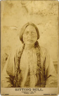 Photography:Cabinet Photos, HUNKPAPA SIOUX CHIEF SITTING BULL - BOUDOIR CARD BY D. F. BARRY -ca.1885 A dramatic image of Sitting Bull displaying both s...(Total: 1 Item)