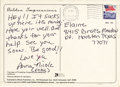 Movie/TV Memorabilia:Autographs and Signed Items, Anna Nicole Smith Handwritten and Signed Postcard. A postcard from Los Angeles, postmarked January 20, 1993, and addressed t... (Total: 1 Item)