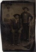 Photography:Tintypes, NATIVE AMERICAN INDIAN WORKING COWBOYS - 1/6TH PLATE TINTYPE -ca.1875-85. A rare image of three Native American men in work...(Total: 1 Item)