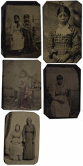 Photography:Tintypes, LOT OF FIVE NATIVE AMERICAN INDIAN WOMEN AND CHILDREN PORTRAITS - 1/6TH PLATE TINTYPES - ca. 1860-85. A study of transitiona... (Total: 1 Item)