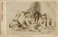 Photography:Cabinet Photos, REAL WESTERN COWBOYS GAMBLING - CABINET CARD - ca.1885-95.. This rare cabinet card features four Cowboys in what appears to ... (Total: 1 Item)