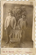 "Photography:Cabinet Photos, RARE HISPANIC AMERICAN COWBOYS WITH BADGE - CABINET CARD - ca.1900.The man on the left, identified as ""Juan Vela"" is we...(Total: 1 Item)"