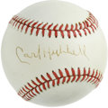 Autographs:Baseballs, Carl Hubbell Single Signed Baseball. With a devastating screwballas his main weapon, Hubbell recorded 5 consecutive 20-win...