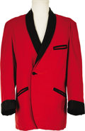Music Memorabilia:Memorabilia, Elvis Owned and Worn Red Velvet Jacket. Elvis wore it in the '60s, but in 1968 Vernon and Dee Presley gave this gorgeous red... (Total: 1 Item)