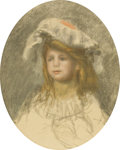 Prints:European Modern, FRENCH SCHOOL. Portrait of a Young Girl. Pastel over printon paper. 21-1/4in. x 17in.. Stamped at lower left W and ...(Total: 1 Item)