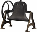 Bronze:American, An American Iron Bell. Unknown Maker, USA. Nineteenth century. CastIron. Marked on front '28 OK' . 27.5 inches high x 28 ...