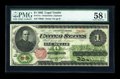 Large Size:Legal Tender Notes, Fr. 17a $1 1862 Legal Tender PMG Choice About Unc 58 EPQ....