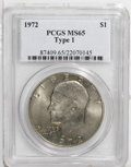Eisenhower Dollars: , 1972 $1 Type One MS65 PCGS. PCGS Population (286/13). NGC Census: (433/17). Mintage: 75,890,000. Numismedia Wsl. Price: $25...