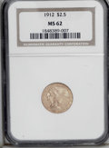 Indian Quarter Eagles: , 1912 $2 1/2 MS62 NGC. NGC Census: (1549/1093). PCGS Population(751/868). Mintage: 616,000. Numismedia Wsl. Price: $600. (#...