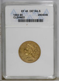 Liberty Half Eagles: , 1860 $5 --Cleaned--ANACS. XF45 Details. NGC Census: (11/73). PCGSPopulation (14/27). Mintage: 19,700. Numismedia Wsl. Price...