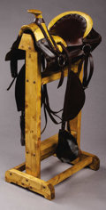 Western Expansion:Cowboy, HARPHAM BROTHERS, LINCOLN NEBRASKA SADDLE ca. 1900 - Hope style, ½seat with exposed tree; marked on skirts; line tooled and...