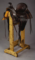 Western Expansion:Cowboy, HALF-SEAT FRED MUELLER, DENVER COLORADO SADDLE - Cheyenne roll; SamStagg rigging; new Strings; embossed leather; relined; l...