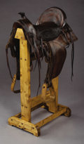 Western Expansion:Cowboy, RANCH KING SADDLE ca. 1890-1900 - Sold in Spiegel catalog fromChicago; Square skirts and double rigged but left rear ring i...