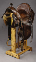 Western Expansion:Cowboy, SADDLE BY W.R. THOMPSON MAKER, RIFLE, COLORADO ca. 1888-1908 -Square skirts with built on marked saddle bags; double rigged...(Total: 1 Item)