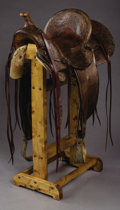 Western Expansion:Cowboy, FRED M. STERN MAKER SAN JOSE, CALIFORNIA SADDLE ca. 1900-1910 - Hasextensive vine and leaf tool, rounded skirts; ¾ single r...