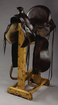Western Expansion:Cowboy, WILD WEST ½ SEAT SADDLE ca. 1890 - Sam Stagg rigged with squareskirts; separate side jockeys with embossed image of Buffalo...(Total: 2 Items)