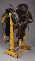 Western Expansion:Cowboy, P.A. WILKERSON BUFFALO, WYOMING SADDLE ca. 1900 - Double rigged;square skirts; loop seat; decorator piece. . Condition...