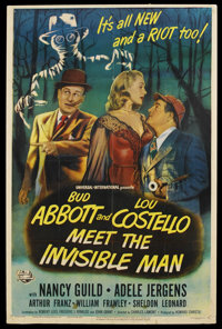 "Abbott and Costello Meet the Invisible Man (Universal, 1951). One Sheet (26.5"" X 40.25""). Horror Comedy"
