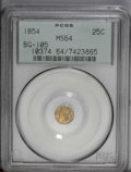 California Fractional Gold: , 1854 25C Liberty Octagonal 25 Cents, BG-105, R.3, MS64 PCGS. PCGSPopulation (62/24). (#10374)...