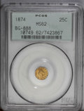 California Fractional Gold: , 1874 25C Indian Round 25 Cents, BG-888, Low R.5, MS62 PCGS. PCGSPopulation (5/30). (#10749)...