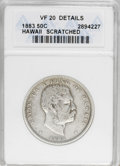 Coins of Hawaii: , 1883 50C Hawaii Half Dollar--Scratched--ANACS. VF20 Details. NGCCensus: (14/258). PCGS Population (11/408). Mintage: 700,0...