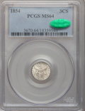 Three Cent Silver: , 1854 3CS MS64 PCGS. CAC. PCGS Population: (90/74). NGC Census: (105/33). CDN: $875 Whsle. Bid for problem-free NGC/PCGS MS6...